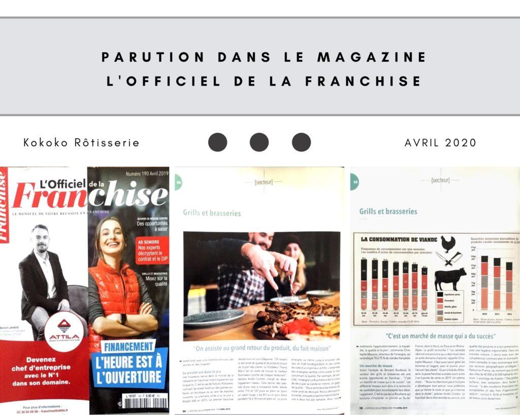 Parution presse magazine l'officiel de la franchise