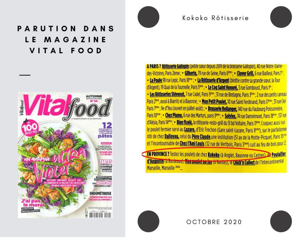Parution presse magazine Vital food